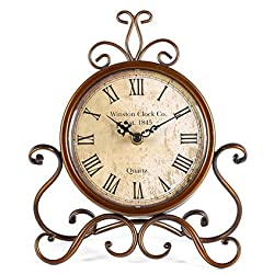 Youbiya Vintage Retro Living Room Decorative Non-Ticking Sweep Movement Numerals Study Room Round Table Desk Clock, Battery Operated 9.4x2.6x11