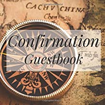 Confirmation Guestbook: Vintage Map Compass Travel Atlas - Holy Christian Baptism Celebration Party Guest Signing Sign In Reception Visitor Book, Girl ... Wishes, Photo Milestones Keepsake Ceremony