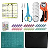 96 PCS Rotary Cutter Kit,45mm Fabric Cutter Set with 5 Blades,Cutting Mat, Patchwork Ruler, Carving Knife,Scissors, Storage Bag, Sewing Clips,Sewing Straight Pins, Full Tools for Sewing and Quilting