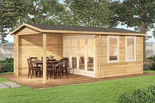 Alpholz Gartenlounge Graz-44 aus Massiv-Holz | Gartenhaus mit 44 mm Wandstärke | Gerätehaus inklusive Montagematerial | Geräteschuppen Größe: 598 x 340 cm | Satteldach
