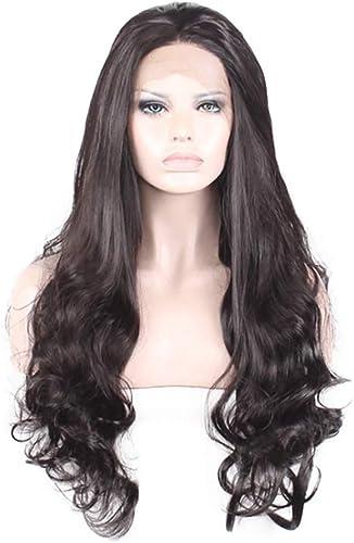 WEATLY noir Lace Front Wig 28 Perruques Longues Cheveux Stright avec la Parcravate Centrale Cosplay Costume Quotidien Perruque de Soirée (Couleur   noir, Taille   28 )