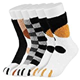 Easycosy Cat Paw Socks -5/6 Paar Cat Claw Socks Design Plüsch Gemütliche Slipper Socke Niedliche Socken Wintersocken Indoor für Damen Lady Girls (fleece 5 style)