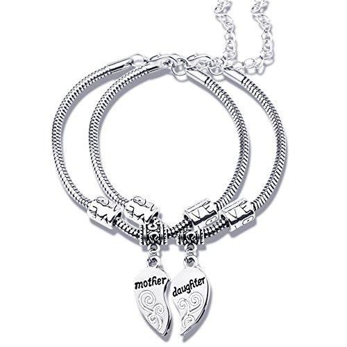 Feifanmall - 2 unidades, juego de joyería, para madre e hija, dos cuentas en forma de corazón para cadena de enlaces, pulseras, regalo para madre e hija, mujer y chica