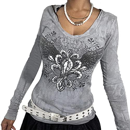 Junliber Harajuku - Camiseta de manga larga con estampado gráfico para mujer, diseño floral y estampado gráfico, gris, S