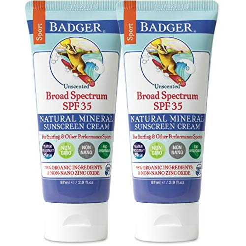 Badger - SPF 35 Zinc Oxide Sport Sunscreen Cream - Unscented - Broad Spectrum Water Resistant Reef Safe Sunscreen, Natural Mineral Sunscreen with Organic Ingredients 2.9 fl oz (2 Pack)