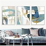 Azul, verde, amarillo, oro, línea, hojas, carteles abstractos, lienzo nórdico, impresión, arte de la pared, pintura, imagen moderna, decoración de la sala de estar | 50x70cmx3 | sin marco