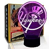 KangYD LED Nachtlicht Baseball Team Logo, 3D Illusionslampe, Raumlampe, A - Black Base Berühren (7...