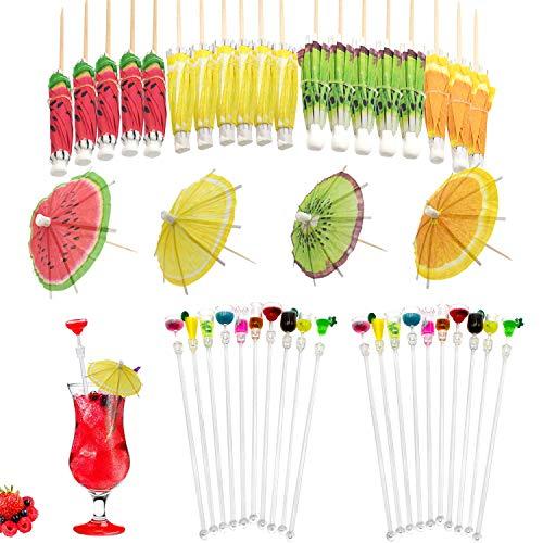 Uni-Fine 30 pezzi bastoni per mescolare cocktail e decorazioni per ombrelli, fenicottero hawaiano tropicale del partito per mescolare i bastoni tondi dell'ottagono/colori misti/