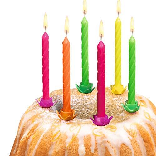 Susy Card Geburtstagskerzen Neon aus Wachs Neonfarben