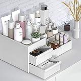 Maquillaje Organizador, Bandeja de almacenamiento caja de cosméticos joyería con cajones, vitrina vanidad encimera de baño con 2 cajones 7 compartimentos, para el aparador, dormitorio, cuarto de baño