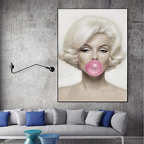 ganlanshu Rahmenlose Malerei Charaktermalerei Schönheit rosa Kaugummi drucken Wandplakat Wohnzimmer Moderne WandkunstCGQ7671 40X60cm