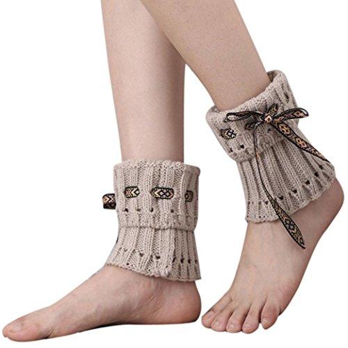 WOCACHI Damen Stulpen Winter Frauen Böhmen kurzer Punkt Beinlinge Socken Stiefel Abdeckung (Beige)