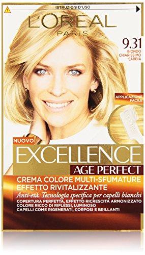 L'Oréal Paris Tinta Capelli Excellence Age Perfect, Effetto Rivitalizzante, 9.31 Biondo Chiarissimo Sabbia, Confezione da 1