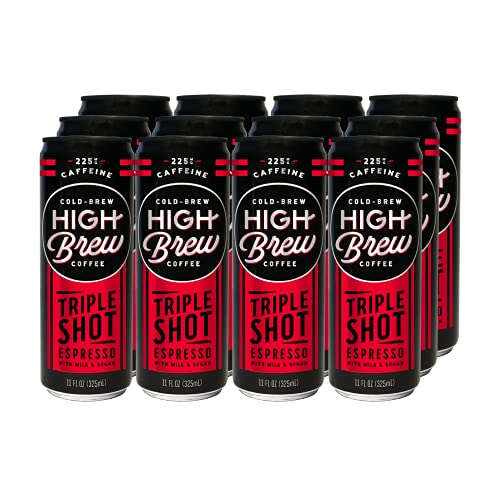 High Brew Cold Brew Coffee, Espresso Triple Shot, 11 Ounce Can (12 Count)