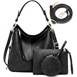Hobo Bags for Women Purses and Handbags Large 3pcs Set Hand Bag Boho Tassel Leather Black