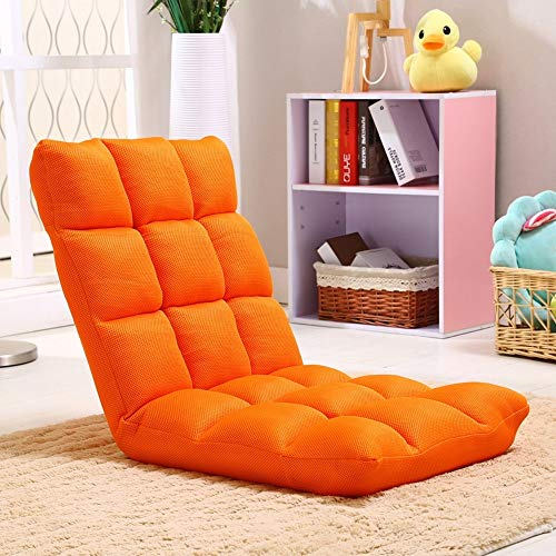 ZHEYANG Sillones Lazy Sofa Plegable Individual Pequeño Sofá Cama Computadora Respaldo Piso Sofá Silla (Color : Orange)
