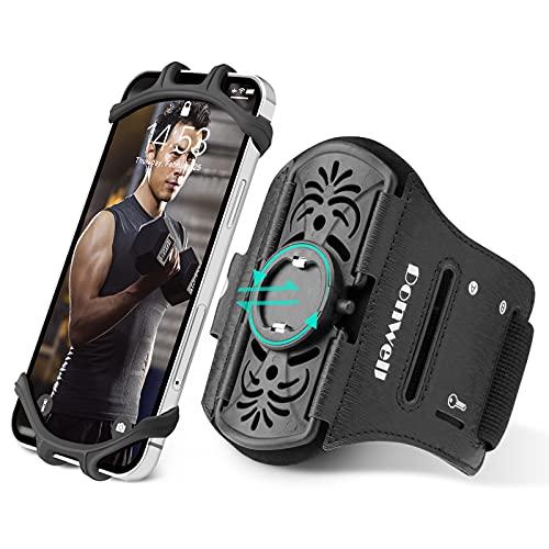 ランニングアームバンド アームバンド【 ワンタッチで取り外し可能 】 スマホ腕ホルダー ジョギングアームバンド 360度回転 通気性抜群 防汗 鍵入れ 4.7-6.7inchまでのiPhone/Android全機種に適用可能 (手首・アーム兼用)
