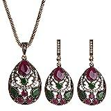 AchidistviQ Juego de 2 piezas de joyería hueca, collar y pendientes para mujer, color rojo