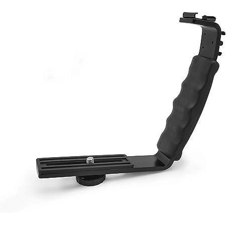 NEOHOOK L Bracket Camera Mount, Flash Bracket with 2 Hot Shoe Mounts for Gimbal Stabilizer DSLR Camera Camcorder Video Light Microphone