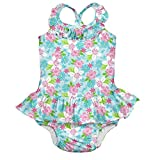i play. Girls' 1pc Ruffle Swimsuit with Built-in Reusable Absorbent Swim Diaper, Aqua Paradise Flower, 3T