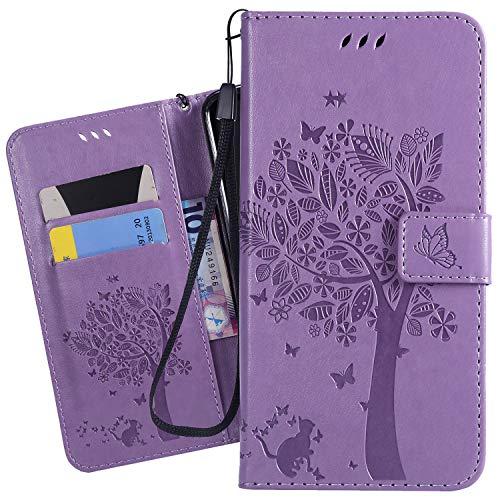 Ougger Custodia per Nokia 7.1 Custodia Portafoglio Pelle Magnetico Morbido Protettivo Silicone Flip Borsa Cover per Nokia 7.1 con Porta da Visita, Gatto e Albero (Viola)