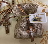 First Communion Favors of Wooden Rosary in a Burlap Bag with Personalized Communion Italian Tag - Set of 10