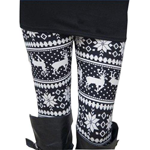 Leggings damen Kolylong® Frauen Stretchy Drucken Weihnachten Leggings Herbst Winter Warm Thermo Leggings Mädchen Slim Leggings Muster Fitness Hose (One size, Schwarz)