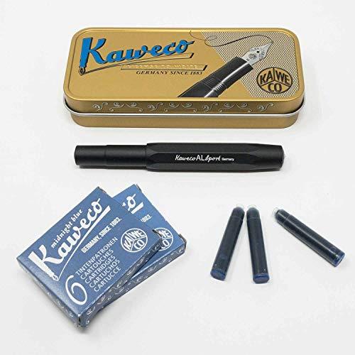Kaweco Al Sport Füllhalter für Patronen aus Aluminium schwarz achteckig | Füllhalter mit Feder M | Kaweco Set mit Füller Patronen | 12 Patronen mit Kaweco Tinte in Blau GRATIS