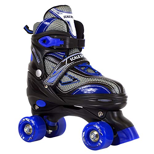 Image of Scale Sports Adjustable Roller Skates for Kids Teen and Ladies Medium Size Blue