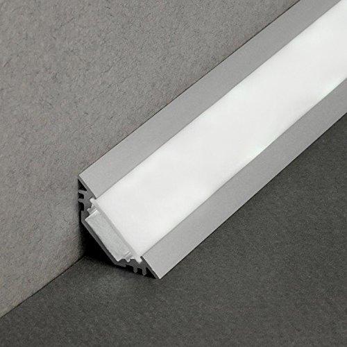 LEDsikon® LED Eck Profil TRIO-T Alu 1m eloxiert + weisse Blende für LED Streifen