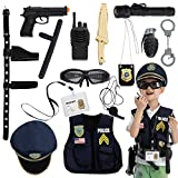 JOYIN 14 Pcs Police Pretend Play Toys Hat and Uniform Outfit for Halloween Dress Up Party, Police Officer Costume, Role-Playing