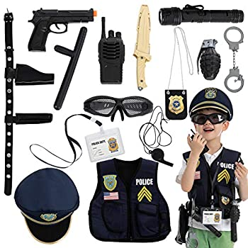 JOYIN 14 Pcs Police Pretend Play Toys Hat and Uniform Outfit for Halloween Dress Up Party Police Officer Costume Role-Playing