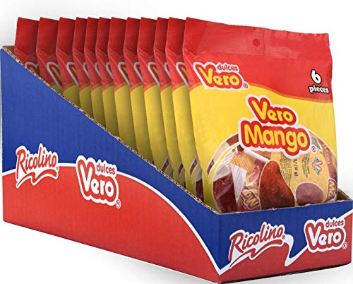 Vero Mango Lollipops - Mango and Chili Flavored Candy, 12 Bags with 6 Lollipops Each
