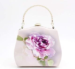ETH Portable Silk Evening Bag Chain Clutch Banquet Gathering Flowers Banquet 18CM * 6CM * 15CM Hand Bag