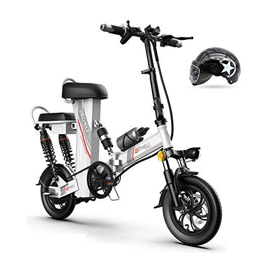 Hxl Elektrische fiets, opvouwbaar, draagbaar, 12 inch, drie bedrijfsmodi, met lithium-ion-accu, afneembaar, 48 V, wit, levensduur 90 km