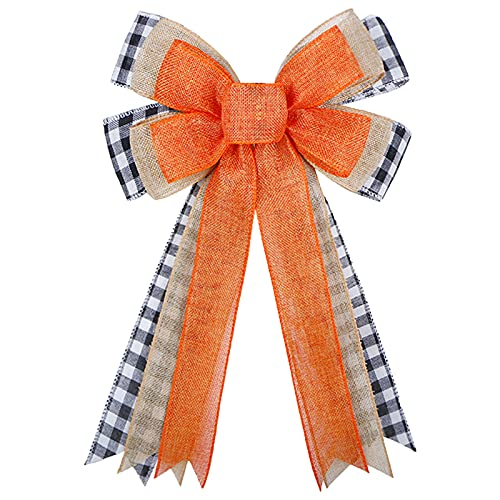 Fall Wreath Bow, Thanksgiving Wreath Bow Orange Burlap Black White Buffalo Plaid Gift Bow Tree Topper for Fall Thanksgiving Halloween Christmas Front Door Wreath Home Indoor Outdoor Decorations