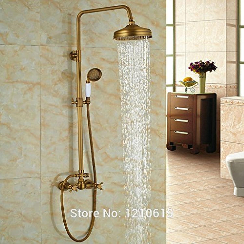 Luxurious shower Neu Messing antik Badezimmer 8 Dusche Armatur mit Handbrause Wandmontage Regendusche Mischbatterie Badewanne Armatur, Multi