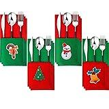 Il pacchetto include: riceverai 12 pezzi di porta stoviglie natalizie in feltro in 4 stili diversi, 3 pezzi per ogni stile, in grado di soddisfare le tue esigenze di utilizzo e sostituzione del tuo festival o quotidiano Materiale robusto: questi port...