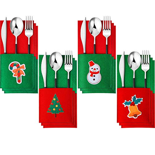 12 Pieces Christmas Silverware Holders Felt Silverware Cutlery Holders Tableware Bags Christmas Party Decoration for Home Restaurant Dining Room Place Settings, Candy, Notes