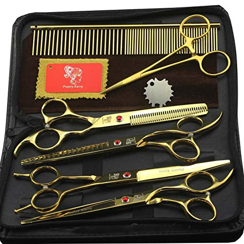 4 piezas de tijeras para mascotas set peluquería tijeras de pelo enviar peine 7 pulgadas Pet Trimmer Kit Pet Grooming Tijeras Set para perro gato (oro)