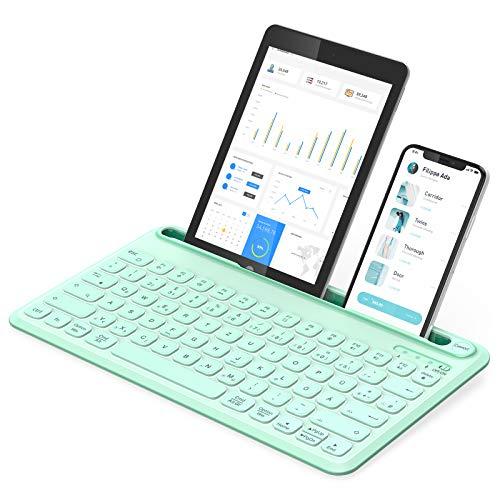 Jelly Comb Bluetooth Beleuchtete Tastatur, kabellose QWERTZ Funktastatur mit 3 Kanälen für PC/Laptop/Tablets/Handys, Windows/Android/iOS/Mac OS, Grün