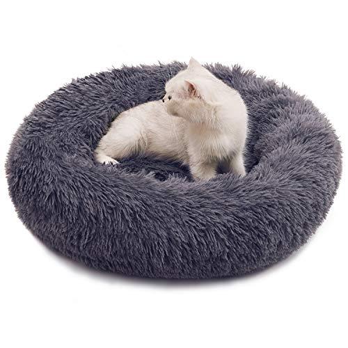 Katzenbett Hundebett Plüsch Weich Donut Bett Ø60cm Rundes Schlafen Bett für Katzen Kleine Hunde Haustierbett (Dunkelgrau)