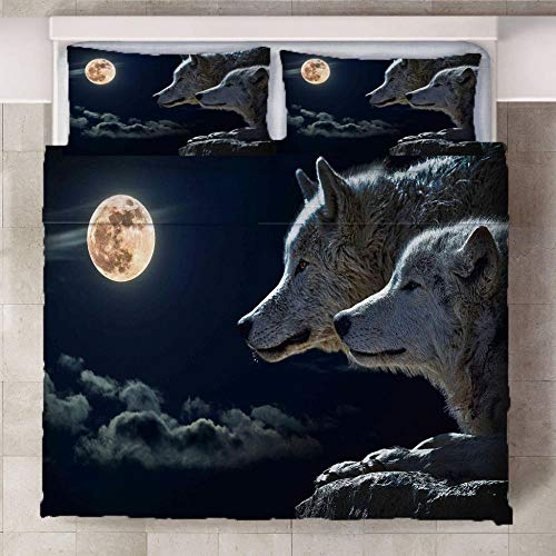 LOVEKKK Duvet cover set 3d print effect Wolf 86.5x94.5 inches Bedsure Duvet Cover Set(1 Duvet Cover with Zipper Closure + 2 Pillow Shams) Super Soft Hypoallergenic Microfiber