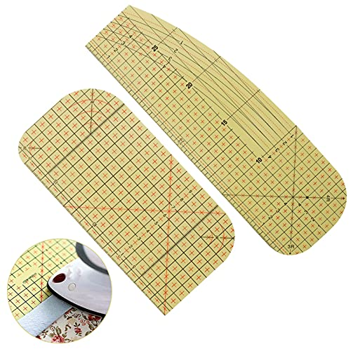 AUXSOUL 2 Stücke Bügellineal Hitzebeständig, Hot Ironing Ruler, Patchwork Lineal Heißbügellineal Patch Patchwork Kleidung Nähen Messwerkzeug zum Aufbügeln, Messen