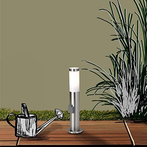 Lámpara de pie para exteriores con enchufe, IP44, 1 bombilla E27 de máx. 20 W, acero inoxidable y plástico, acero inoxidable