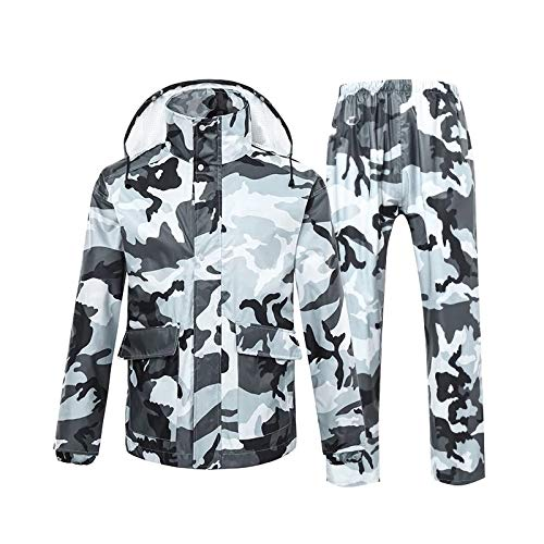 BearHoHo - Set Impermeabile a Doppio Strato e Riflettente, per Pesca e Alpinismo, per Uomo e Donna, Gray Camouflage, M