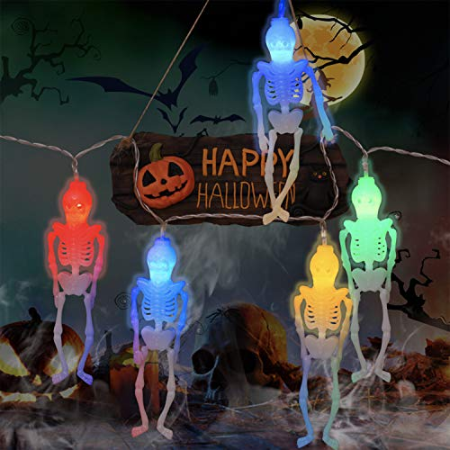 Halloween Skeleton Skull String Lights - 10Ft 20LEDs Battery Operated Colorful Fairy Halloween Lights Decoration,2 Lighting Modes String Lights for Window Porch Bar Outdoor Indoor Halloween Decor
