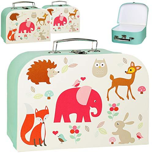 alles-meine.de GmbH Kinderkoffer / Koffer - MITTEL - Tiere - Elefant / Eule / REH / Fuchs - ideal als Geldgeschenk und für Spielzeug - Mädchen & Jungen - Kinder & Erwachsene - Pa..