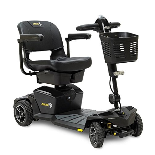 Pride Jazzy Zero Turn 4-Wheel Travel Mobility Scooters, Get The Best of Both Worlds - 4 Wheel Stability Meets 3 Wheel Maneuverability (Onyx Black)