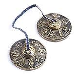 Platillos de Dedo,Platillos de meditación tibetana?Campanas budistas tibetanas para sanación con sonido,yoga,meditación,atención plena,platillos Tingsha,Crótalos tibetano.